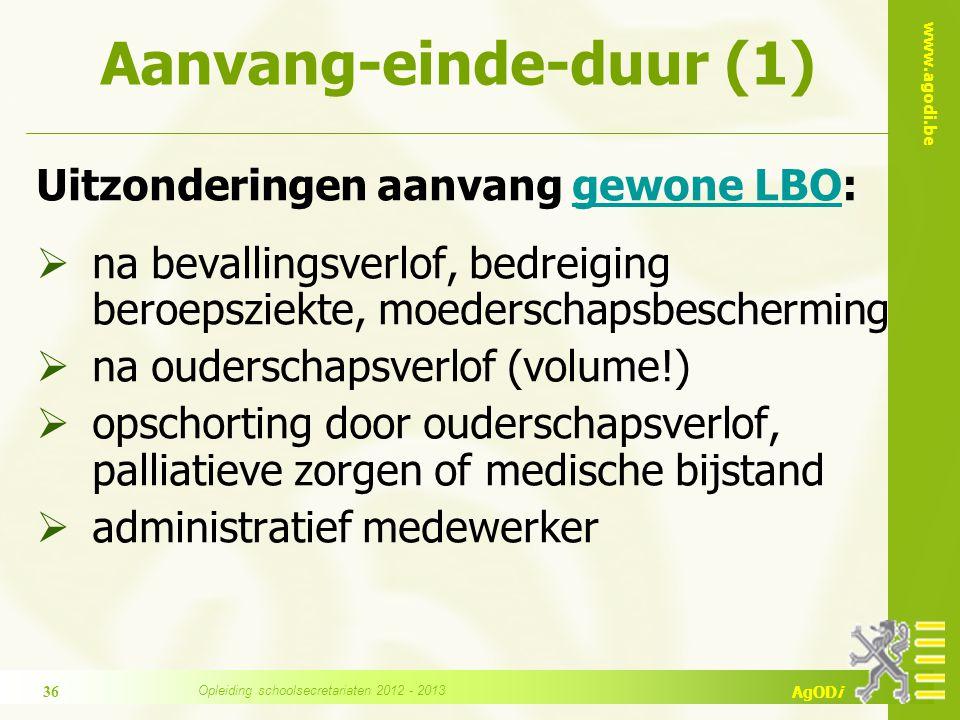 www.agodi.be AgODi Aanvang-einde-duur (1) Uitzonderingen aanvang gewone LBO:gewone LBO  na bevallingsverlof, bedreiging beroepsziekte, moederschapsbe