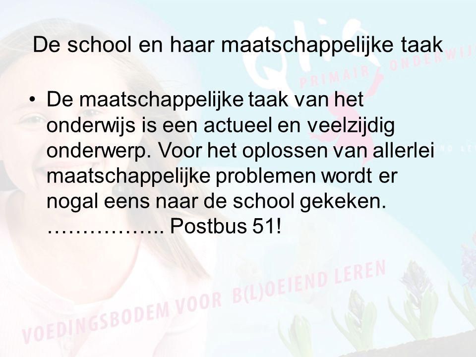 De school en haar maatschappelijke taak De maatschappelijke taak van het onderwijs is een actueel en veelzijdig onderwerp.
