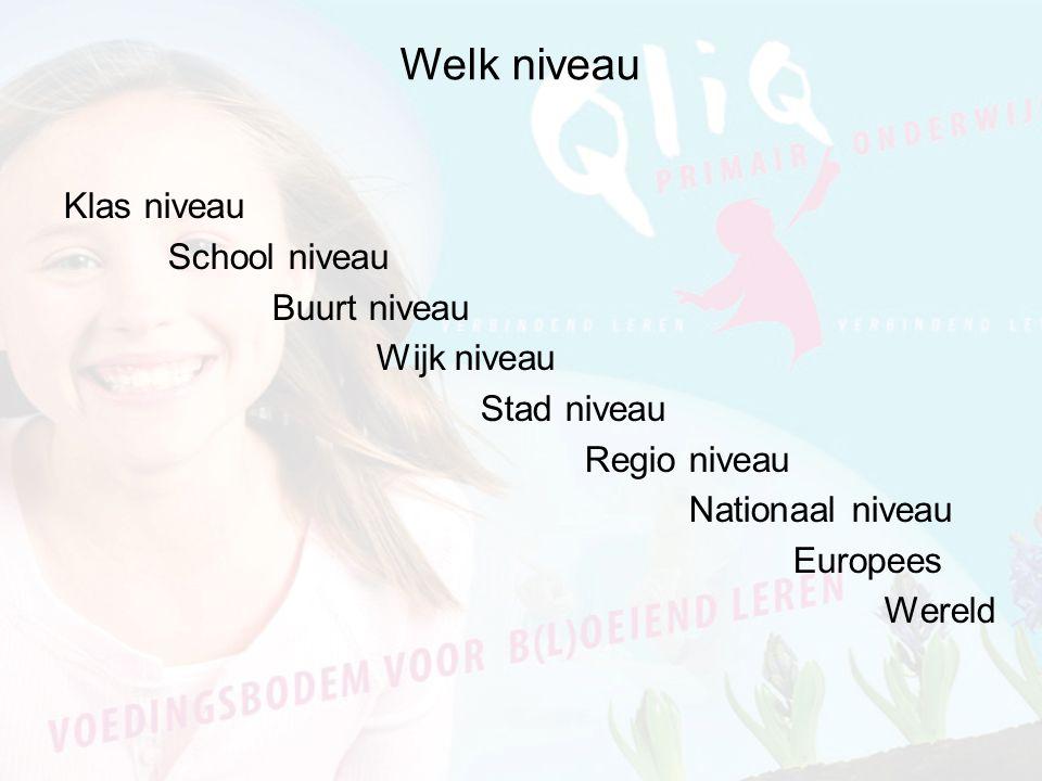 Welk niveau Klas niveau School niveau Buurt niveau Wijk niveau Stad niveau Regio niveau Nationaal niveau Europees Wereld