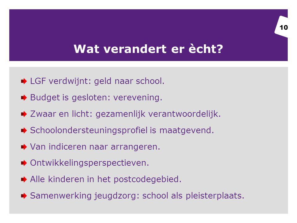 Wat verandert er ècht.LGF verdwijnt: geld naar school.