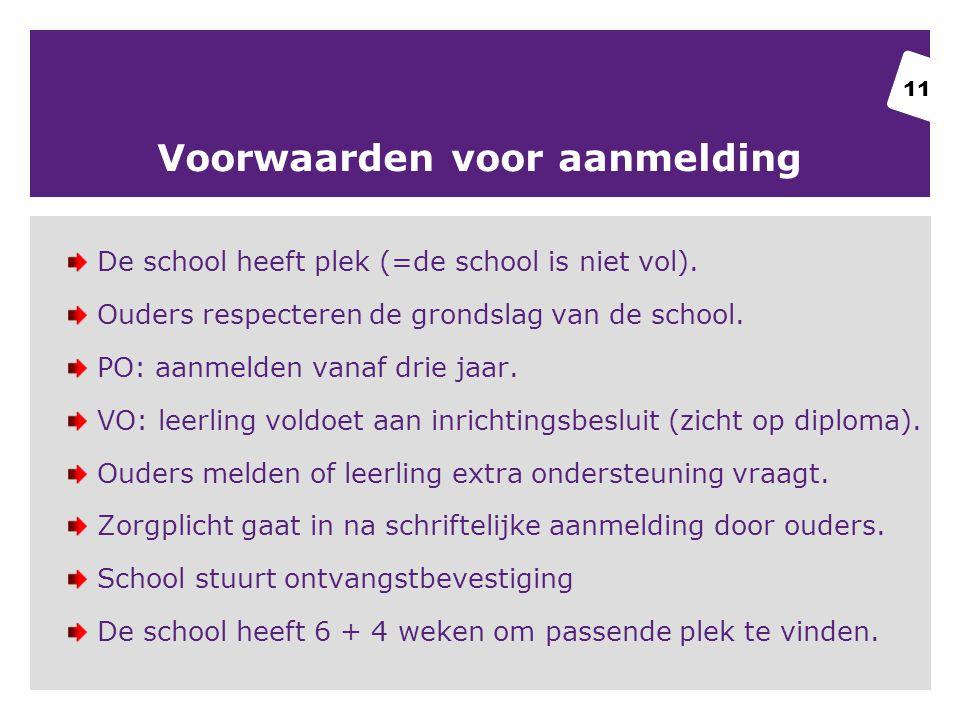 Voorwaarden voor aanmelding De school heeft plek (=de school is niet vol).