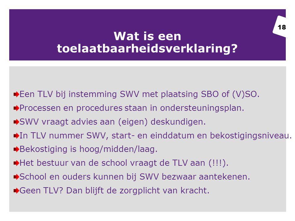 Wat is een toelaatbaarheidsverklaring.Een TLV bij instemming SWV met plaatsing SBO of (V)SO.