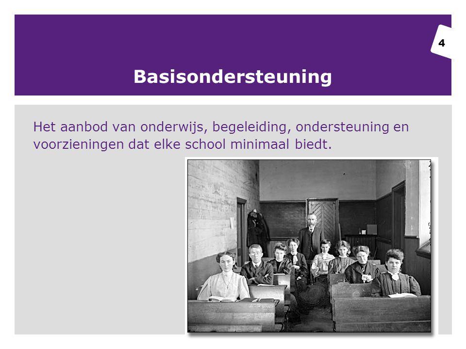 Basisondersteuning Het aanbod van onderwijs, begeleiding, ondersteuning en voorzieningen dat elke school minimaal biedt.