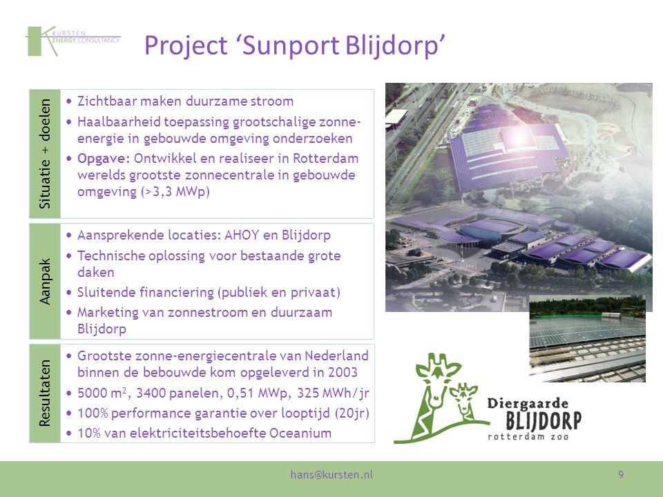 Project 'Sunport Blijdorp' 9 Zichtbaar maken duurzame stroom Haalbaarheid toepassing grootschalige zonne- energie in gebouwde omgeving onderzoeken Opg