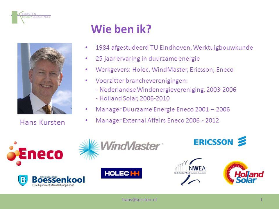 Wie ben ik? 1984 afgestudeerd TU Eindhoven, Werktuigbouwkunde 25 jaar ervaring in duurzame energie Werkgevers: Holec, WindMaster, Ericsson, Eneco Voor