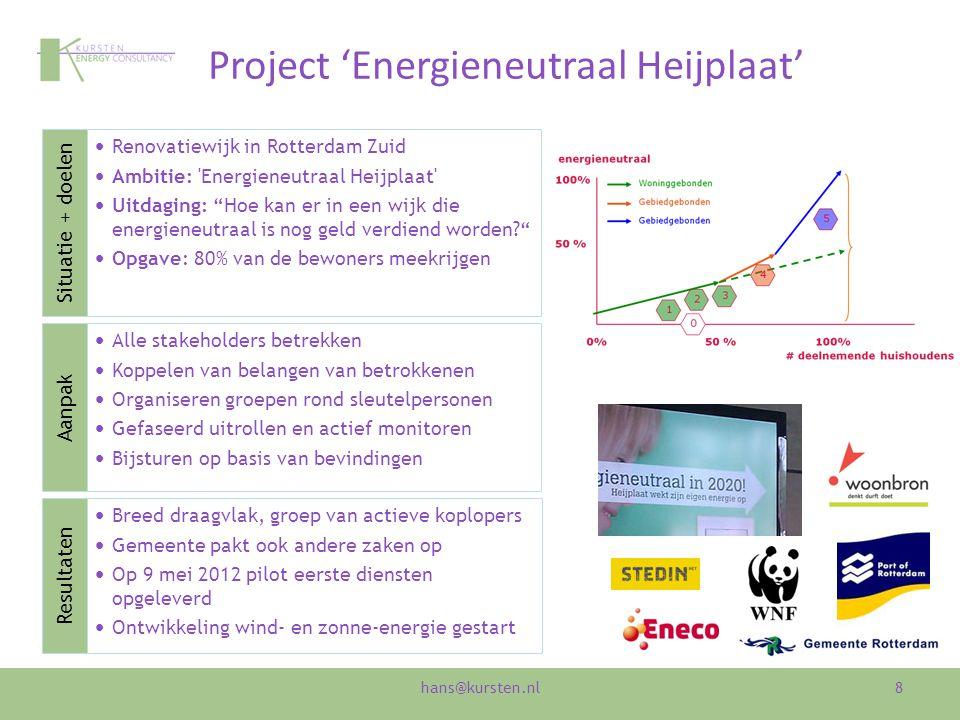 Project 'Energieneutraal Heijplaat' 8 Renovatiewijk in Rotterdam Zuid Ambitie: Energieneutraal Heijplaat Uitdaging: Hoe kan er in een wijk die energieneutraal is nog geld verdiend worden? Opgave: 80% van de bewoners meekrijgen Alle stakeholders betrekken Koppelen van belangen van betrokkenen Organiseren groepen rond sleutelpersonen Gefaseerd uitrollen en actief monitoren Bijsturen op basis van bevindingen Breed draagvlak, groep van actieve koplopers Gemeente pakt ook andere zaken op Op 9 mei 2012 pilot eerste diensten opgeleverd Ontwikkeling wind- en zonne-energie gestart Aanpak Situatie + doelen Resultaten hans@kursten.nl
