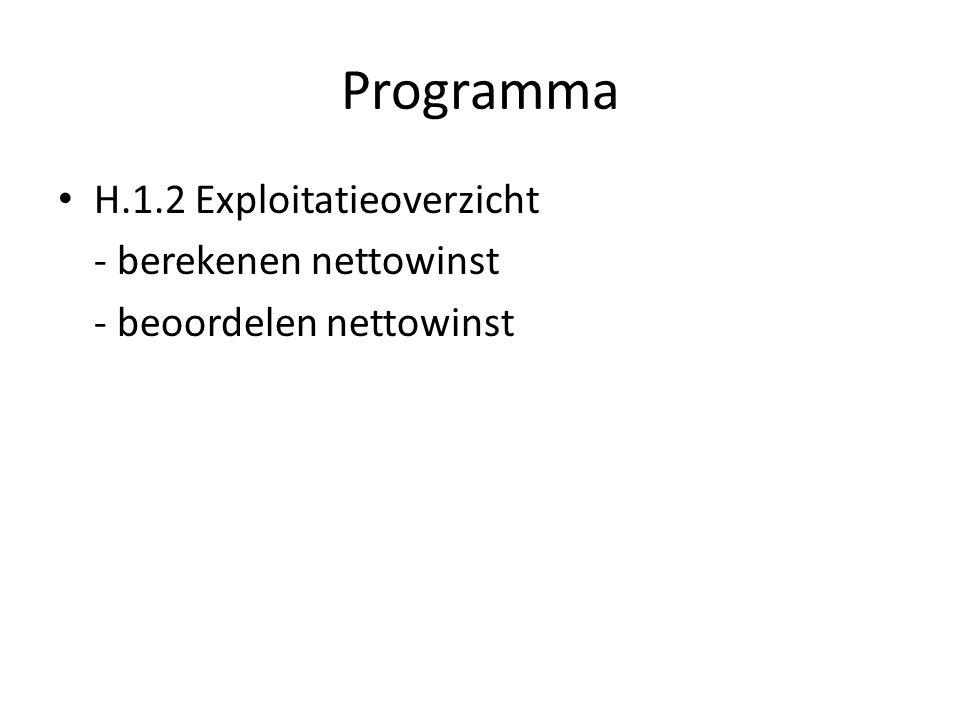 Programma H.1.2 Exploitatieoverzicht - berekenen nettowinst - beoordelen nettowinst