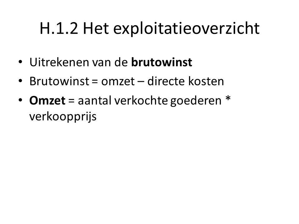 H.1.2 Het exploitatieoverzicht Uitrekenen van de nettowinst