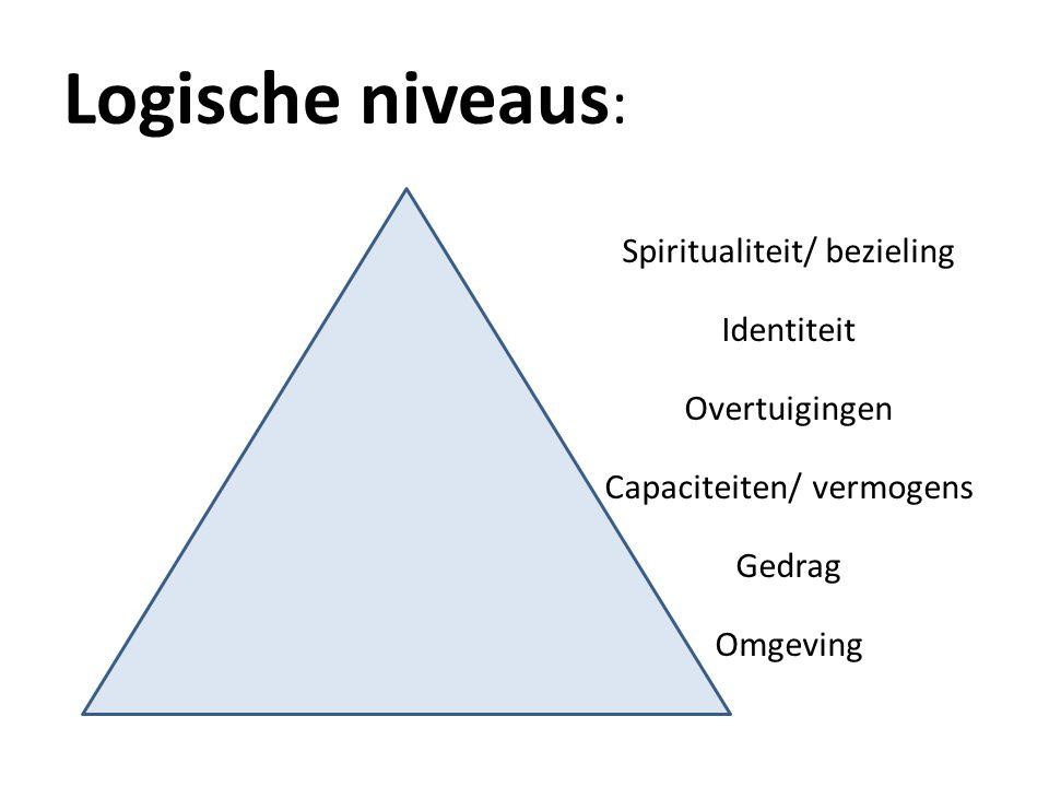 Logische niveaus : Spiritualiteit/ bezieling Identiteit Overtuigingen Capaciteiten/ vermogens Gedrag Omgeving