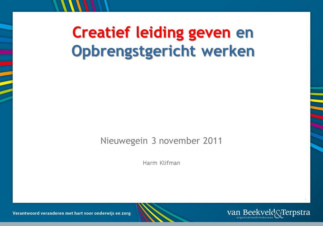 1 Creatief leiding geven en Opbrengstgericht werken Nieuwegein 3 november 2011 Harm Klifman