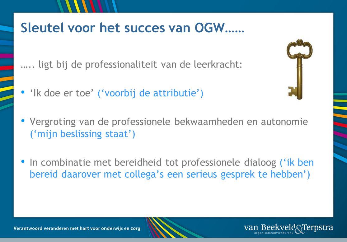 Sleutel voor het succes van OGW…… …..