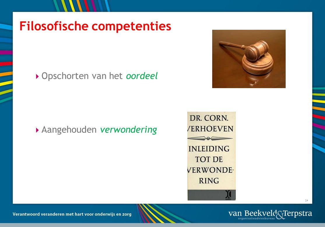 Filosofische competenties  Opschorten van het oordeel  Aangehouden verwondering 24