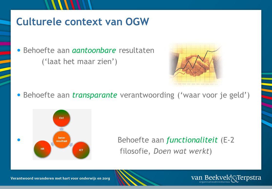 Culturele context van OGW Behoefte aan aantoonbare resultaten ('laat het maar zien') Behoefte aan transparante verantwoording ('waar voor je geld') Behoefte aan functionaliteit (E-2 filosofie, Doen wat werkt)