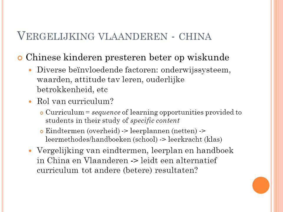 V ERGELIJKING VLAANDEREN - CHINA Chinese kinderen presteren beter op wiskunde Diverse beïnvloedende factoren: onderwijssysteem, waarden, attitude tav