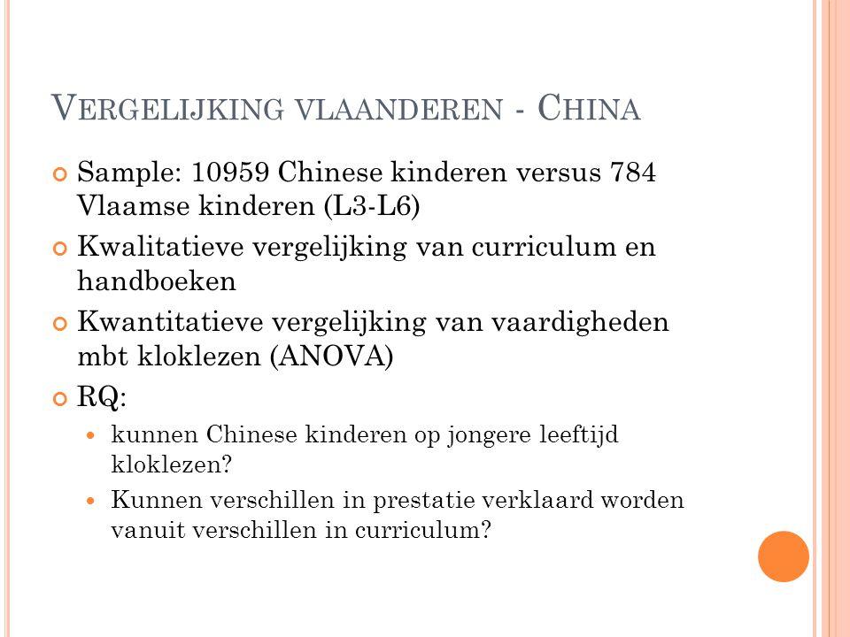 V ERGELIJKING VLAANDEREN - C HINA Sample: 10959 Chinese kinderen versus 784 Vlaamse kinderen (L3-L6) Kwalitatieve vergelijking van curriculum en handb