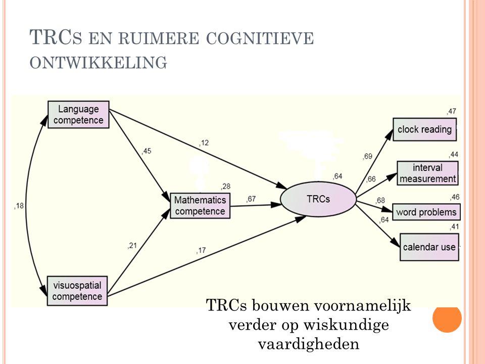 TRC S EN RUIMERE COGNITIEVE ONTWIKKELING TRCs bouwen voornamelijk verder op wiskundige vaardigheden