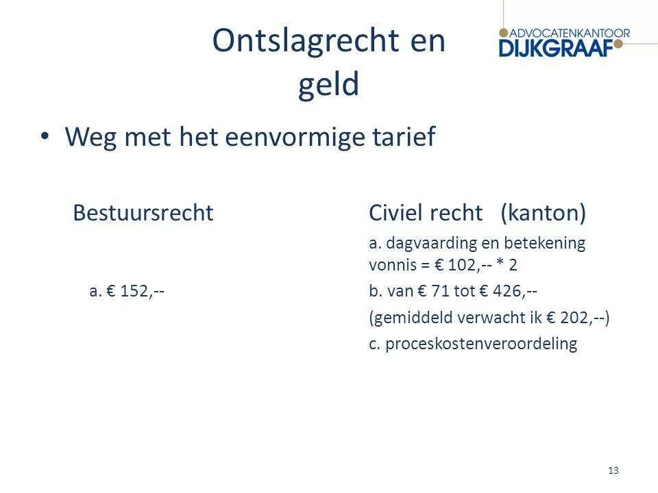 Ontslagrecht en geld Weg met het eenvormige tarief BestuursrechtCiviel recht(kanton) a. dagvaarding en betekening vonnis = € 102,-- * 2 a. € 152,--b.