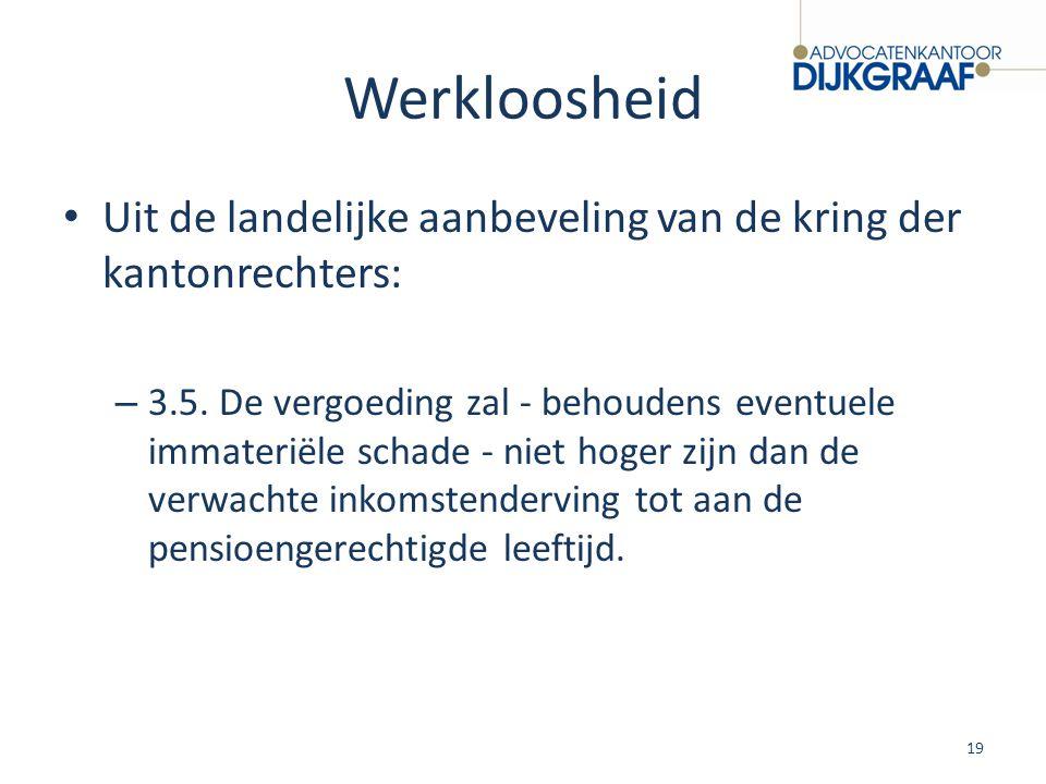 Werkloosheid Uit de landelijke aanbeveling van de kring der kantonrechters: – 3.5. De vergoeding zal - behoudens eventuele immateriële schade - niet h
