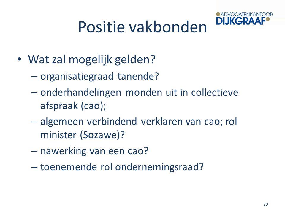 Positie vakbonden Wat zal mogelijk gelden? – organisatiegraad tanende? – onderhandelingen monden uit in collectieve afspraak (cao); – algemeen verbind