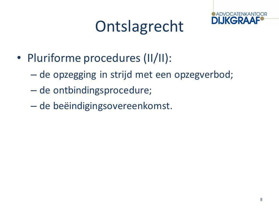 Ontslagrecht Pluriforme procedures (II/II): – de opzegging in strijd met een opzegverbod; – de ontbindingsprocedure; – de beëindigingsovereenkomst. 8