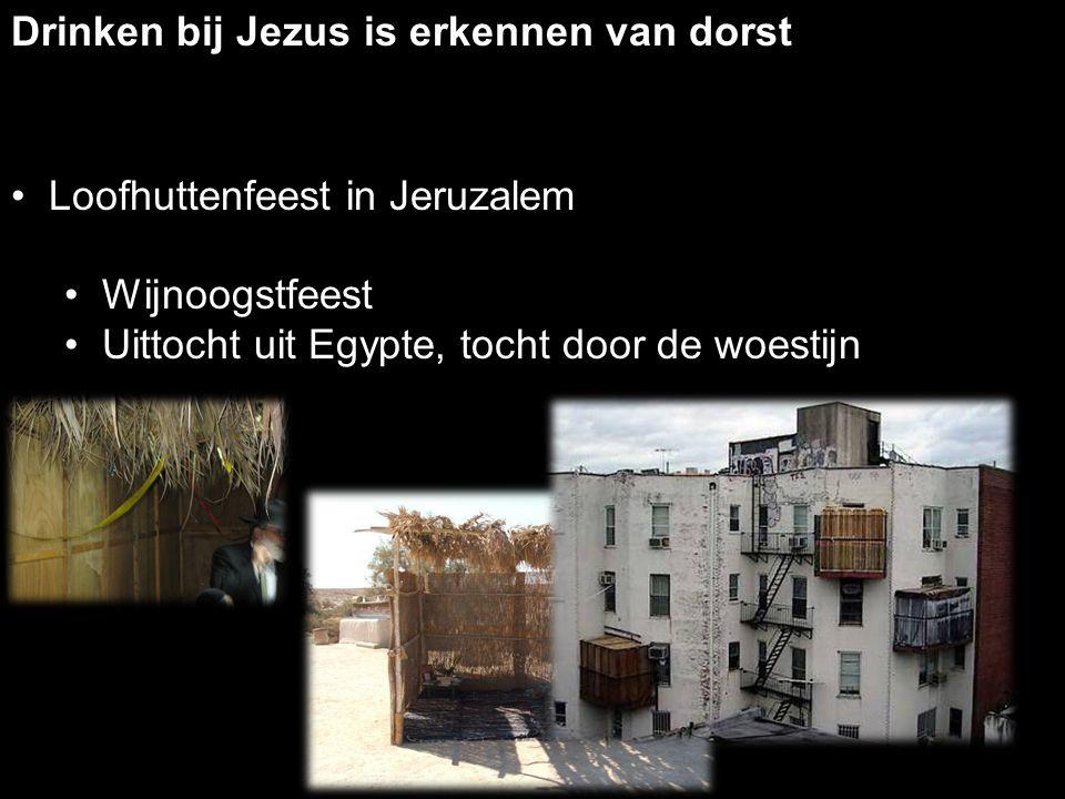Drinken bij Jezus is erkennen van dorst Loofhuttenfeest in Jeruzalem Wijnoogstfeest Uittocht uit Egypte, tocht door de woestijn