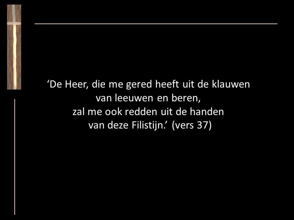 'De Heer, die me gered heeft uit de klauwen van leeuwen en beren, zal me ook redden uit de handen van deze Filistijn.' (vers 37)