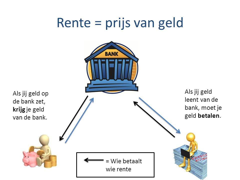 Rente = prijs van geld Als jij geld op de bank zet, krijg je geld van de bank.