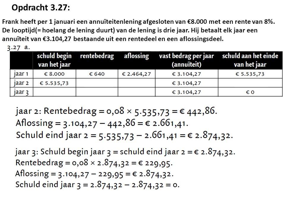 Pietje zet op 1 januari 2001 een bedrag van € 2.000 op een spaarrekening tegen een rentepercentage van 6% per jaar.