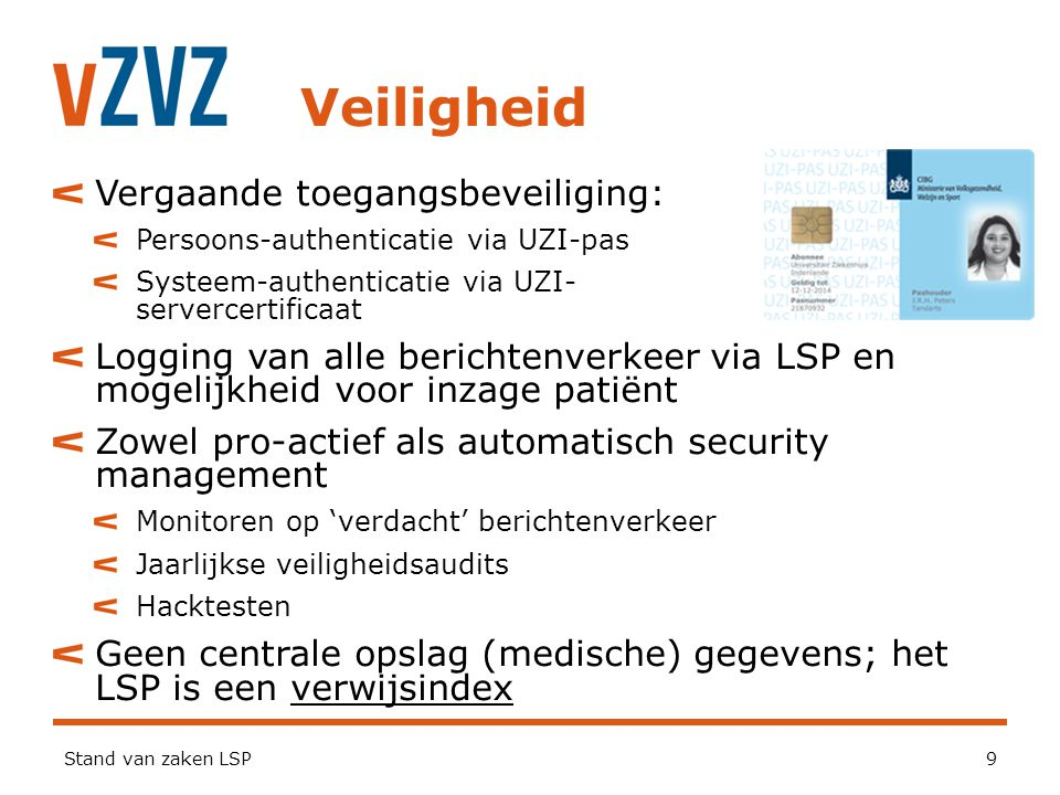Veiligheid Stand van zaken LSP9 Vergaande toegangsbeveiliging: Persoons-authenticatie via UZI-pas Systeem-authenticatie via UZI- servercertificaat Log