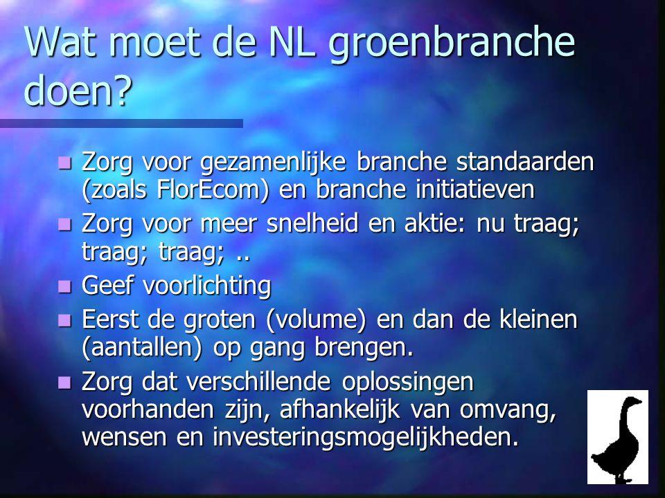 Wat moet de NL groenbranche doen? Zorg voor gezamenlijke branche standaarden (zoals FlorEcom) en branche initiatieven Zorg voor gezamenlijke branche s
