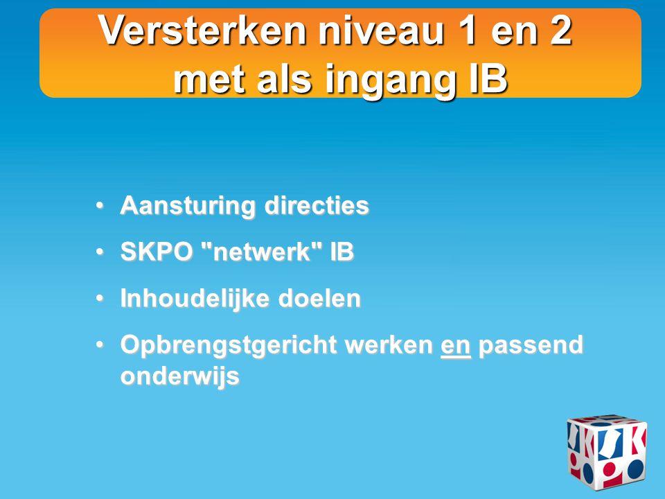 Versterken niveau 1 en 2 met als ingang IB Aansturing directiesAansturing directies SKPO
