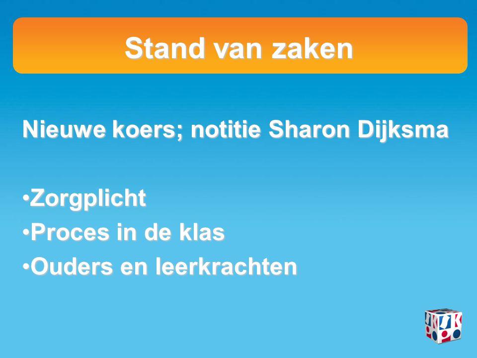 Stand van zaken Nieuwe koers; notitie Sharon Dijksma ZorgplichtZorgplicht Proces in de klasProces in de klas Ouders en leerkrachtenOuders en leerkrach