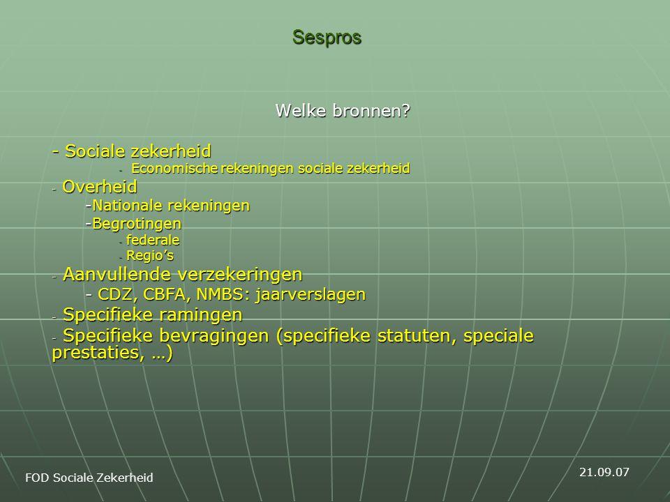 Sespros Welke bronnen? - Sociale zekerheid - Economische rekeningen sociale zekerheid - Overheid -Nationale rekeningen -Begrotingen - federale - Regio