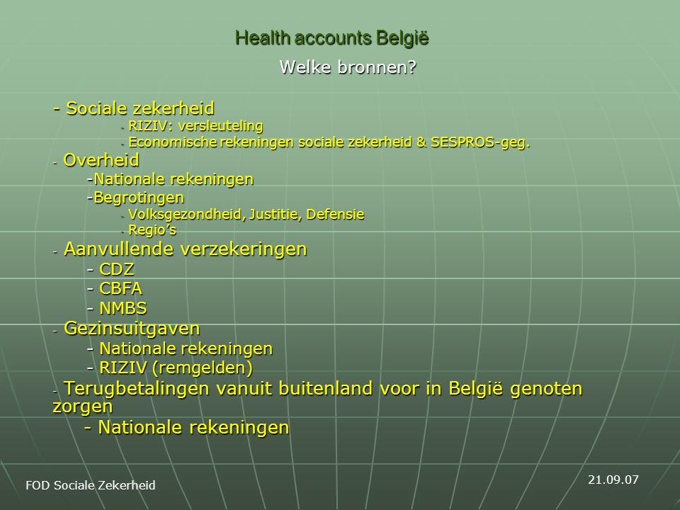Health accounts België Welke bronnen? - Sociale zekerheid - RIZIV: versleuteling - Economische rekeningen sociale zekerheid & SESPROS-geg. - Overheid