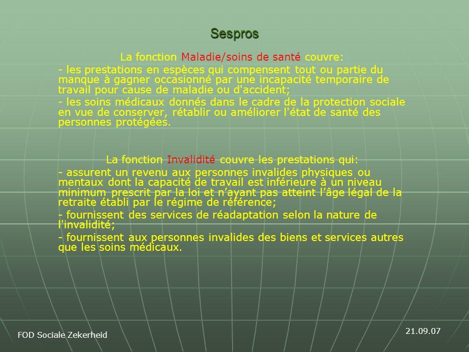 Sespros vs.Health accounts België Welke bronnen.