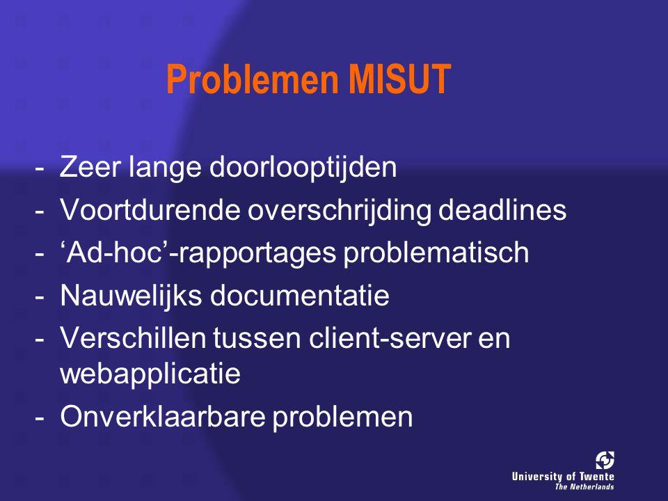 Problemen MISUT - -Zeer lange doorlooptijden - -Voortdurende overschrijding deadlines - -'Ad-hoc'-rapportages problematisch - -Nauwelijks documentatie - -Verschillen tussen client-server en webapplicatie - -Onverklaarbare problemen