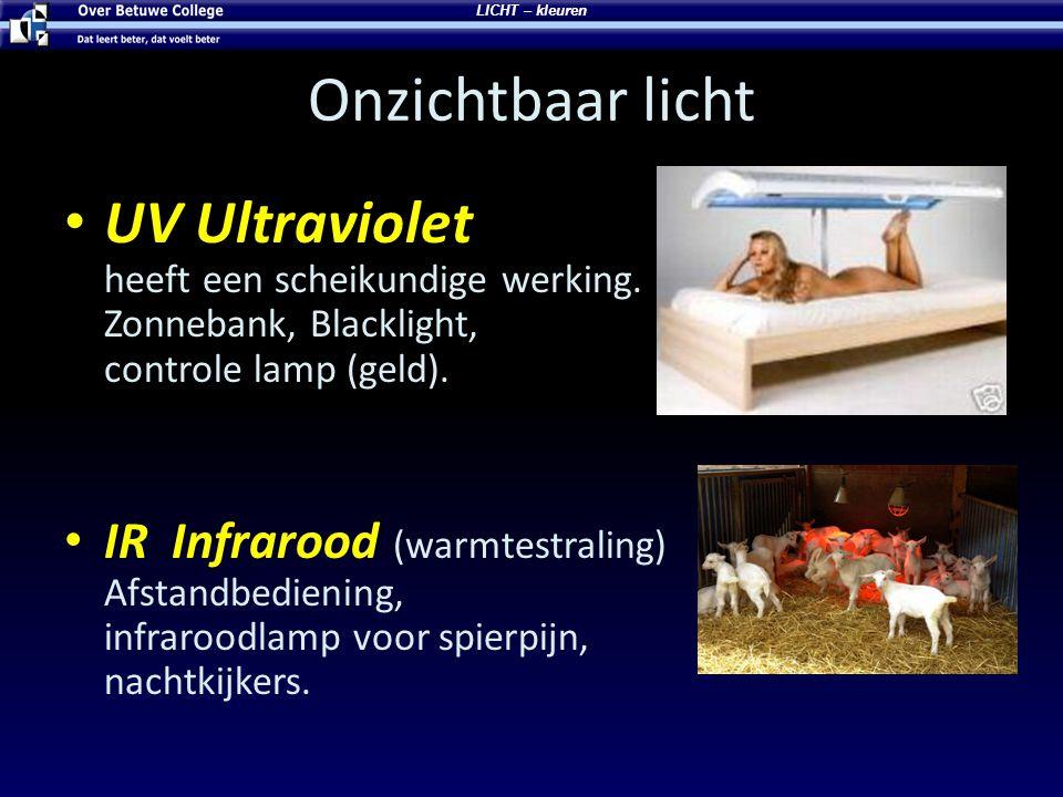Onzichtbaar licht UV Ultraviolet heeft een scheikundige werking. Zonnebank, Blacklight, controle lamp (geld). IR Infrarood (warmtestraling) Afstandbed