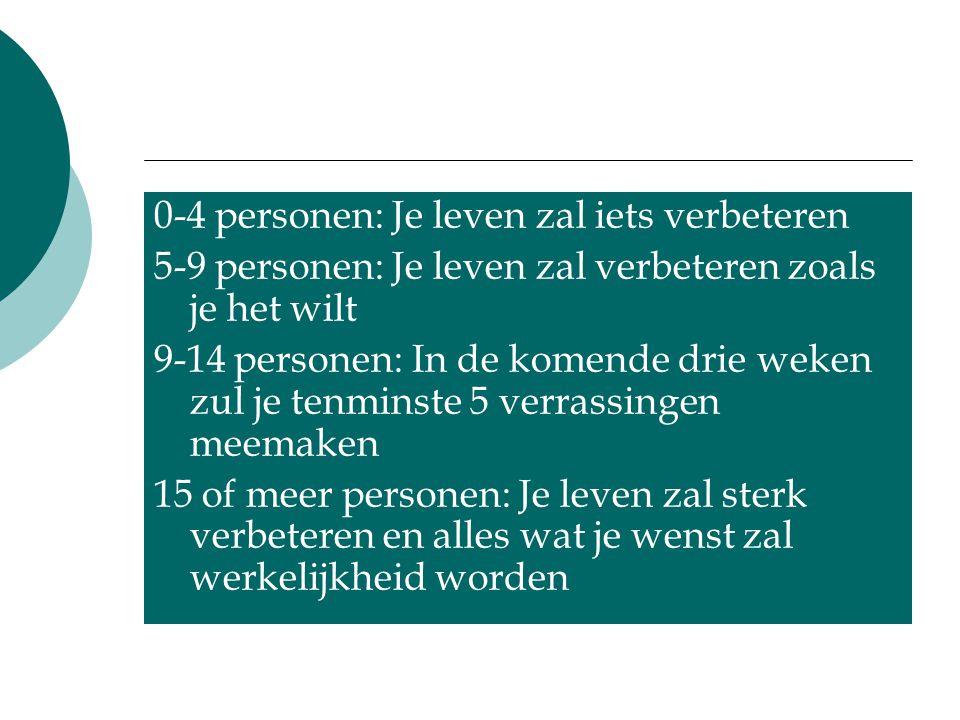 0-4 personen: Je leven zal iets verbeteren 5-9 personen: Je leven zal verbeteren zoals je het wilt 9-14 personen: In de komende drie weken zul je tenm