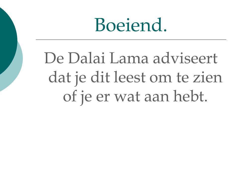 De Dalai Lama adviseert dat je dit leest om te zien of je er wat aan hebt. Boeiend.