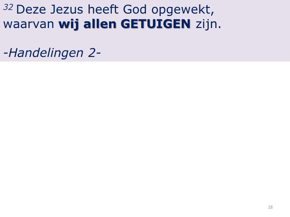 32 Deze Jezus heeft God opgewekt, wij allenGETUIGEN waarvan wij allen GETUIGEN zijn.