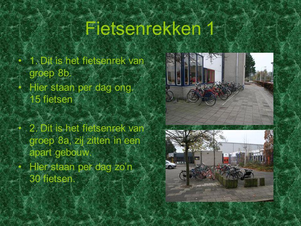 Fietsenrekken 1 1. Dit is het fietsenrek van groep 8b. Hier staan per dag ong. 15 fietsen 2. Dit is het fietsenrek van groep 8a, zij zitten in een apa