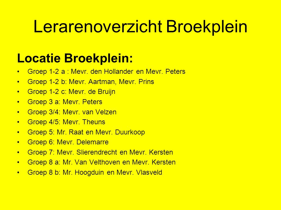 Lerarenoverzicht Broekplein Locatie Broekplein: Groep 1-2 a : Mevr. den Hollander en Mevr. Peters Groep 1-2 b: Mevr. Aartman, Mevr. Prins Groep 1-2 c: