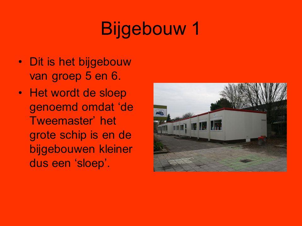 Bijgebouw 1 Dit is het bijgebouw van groep 5 en 6. Het wordt de sloep genoemd omdat 'de Tweemaster' het grote schip is en de bijgebouwen kleiner dus e
