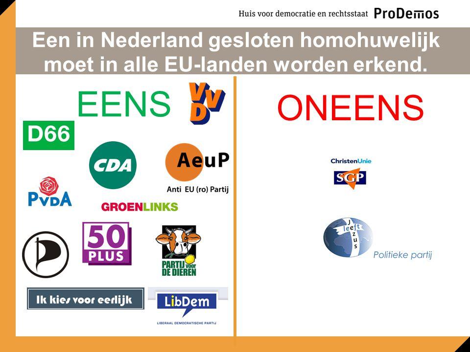 Een in Nederland gesloten homohuwelijk moet in alle EU-landen worden erkend. EENS ONEENS