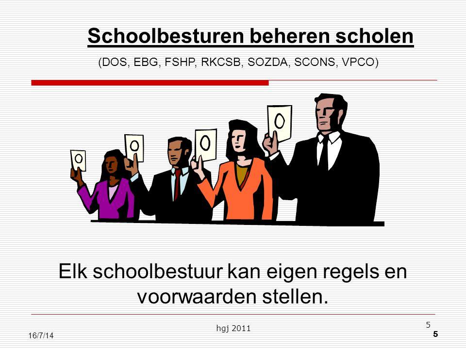 hgj 2011 5 5 16/7/14 Schoolbesturen beheren scholen (DOS, EBG, FSHP, RKCSB, SOZDA, SCONS, VPCO) Elk schoolbestuur kan eigen regels en voorwaarden stellen.