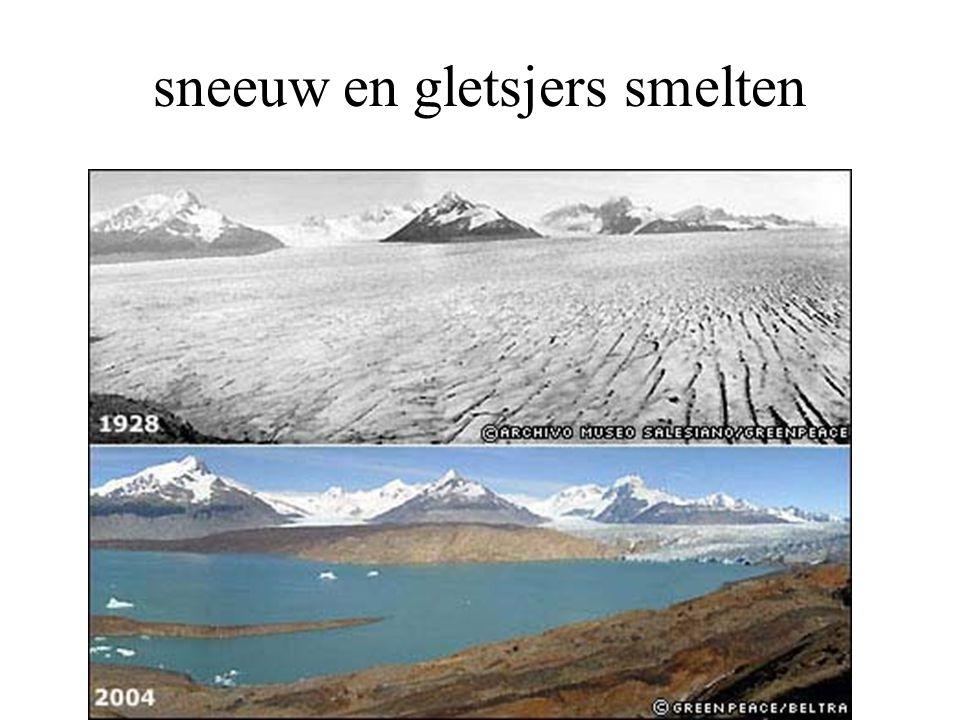 sneeuw en gletsjers smelten