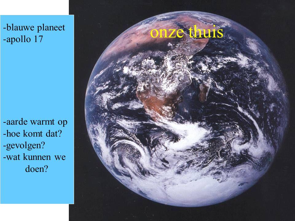 onze thuis -blauwe planeet -apollo 17 -aarde warmt op -hoe komt dat? -gevolgen? -wat kunnen we doen?