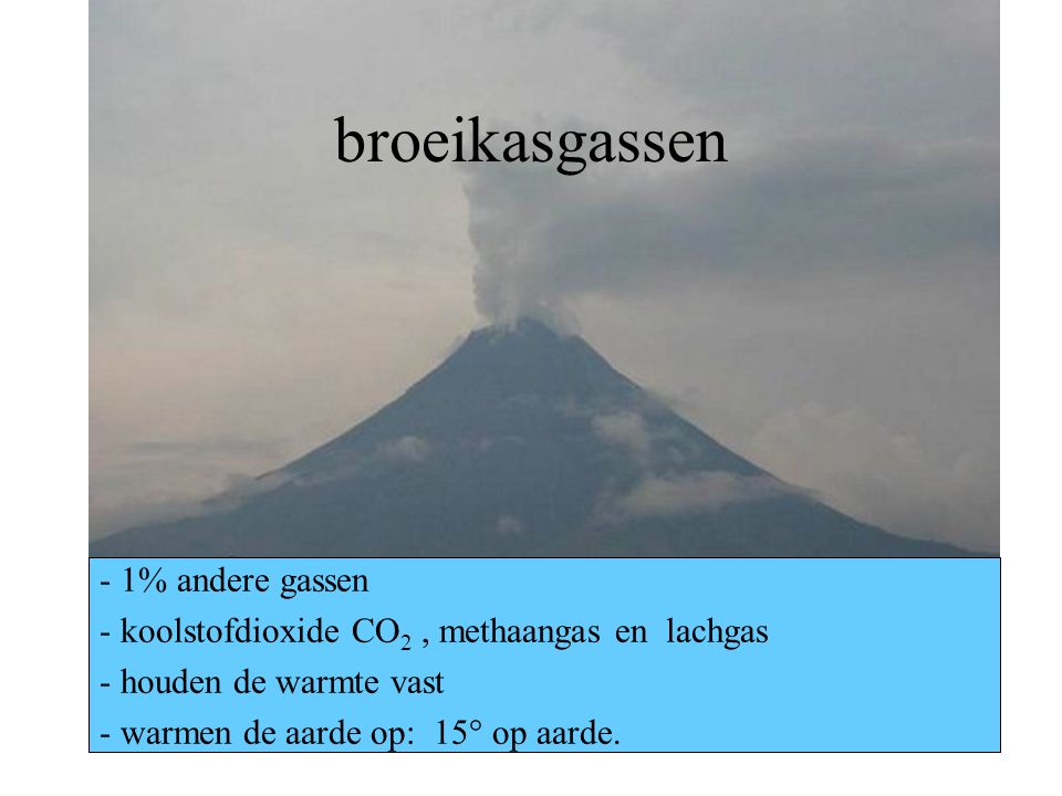 broeikasgassen - 1% andere gassen - koolstofdioxide CO 2, methaangas en lachgas - houden de warmte vast - warmen de aarde op: 15° op aarde.