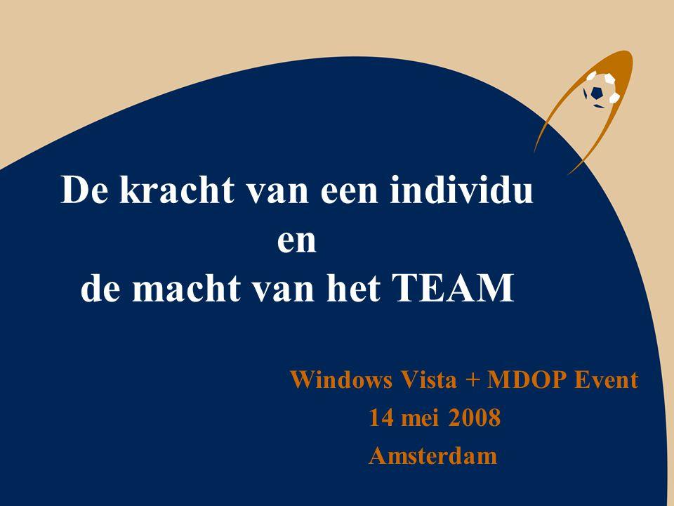De kracht van een individu en de macht van het TEAM Windows Vista + MDOP Event 14 mei 2008 Amsterdam
