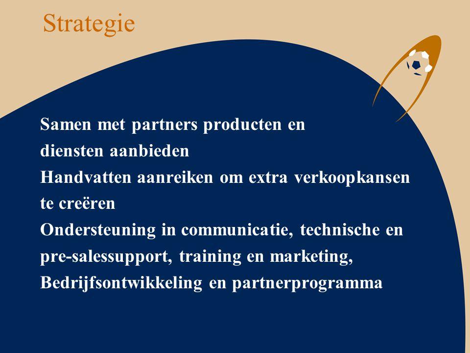 Strategie Samen met partners producten en diensten aanbieden Handvatten aanreiken om extra verkoopkansen te creëren Ondersteuning in communicatie, tec